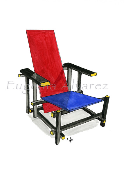 The Red and Blue Chair. Painting Art Print Furniture Art Print Fine Art Print from Watercolor Painting De Stijl Art Print Gerrit Rietveld Watercolor Wall Art