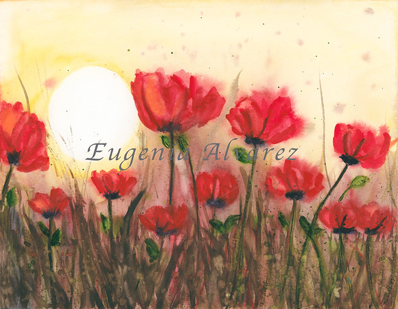 Poppies sunrise - Watercolor