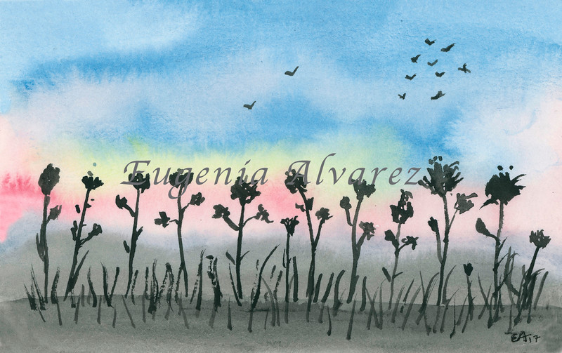 Black Flowers Sunset Original Watercolor Painting Art Print from Watercolor Painting Landscape Art Print Watercolor Wall Art