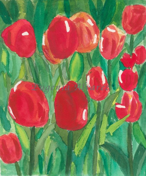 Red tulips - Watercolor