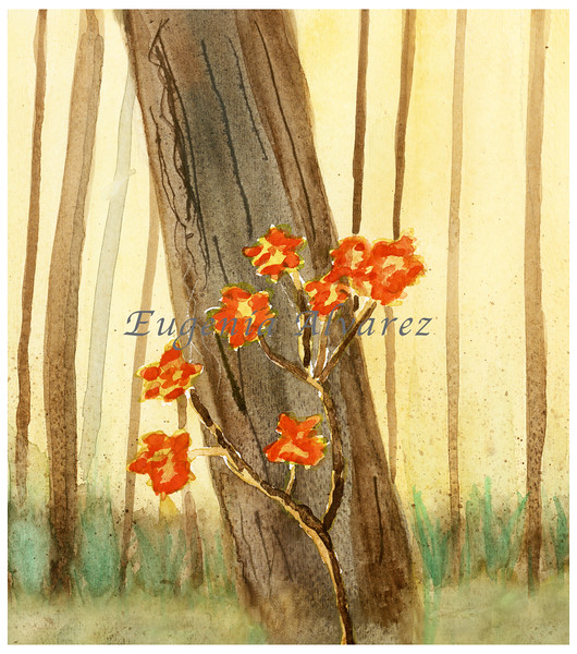 Wild Orange Flowers on a Forest. Painting Art Print Flower Art Print from Watercolor Painting Nature Art Print Forest Watercolor Wall Art