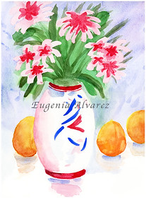 Red Flowers On a Vase. Painting Art Print Flowers Art Print from Watercolor Painting Still Life Flowers Art Print Watercolor Wall Art