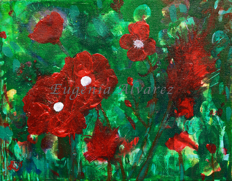 Red Flowers - Watercolor