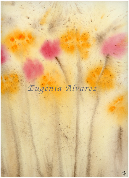 Yellow and Pink Flowers Abstract Print Watercolor Painting Fine Art Print from Watercolor Painting Abstract Painting Art Watercolor Wall Art