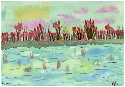 Sunset on the Pond Watercolor Painting Art Print Fine Art Print from Watercolor Painting Watercolor Wall Art