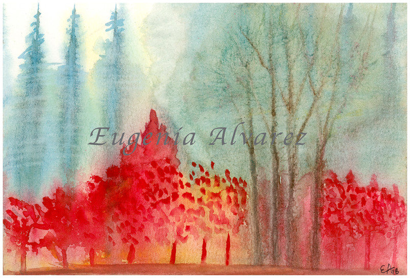 Abstract Orange Forest Watercolor Painting Art Print from Watercolor Painting Abstract Art Print Watercolor Wall Art