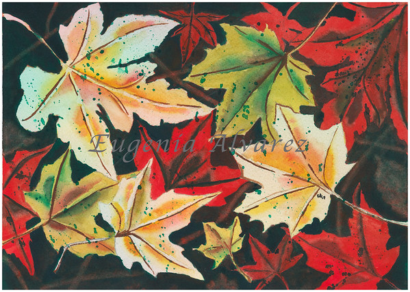 Fall Leaves Watercolor Painting Art Print Fine Art Print from Watercolor Painting