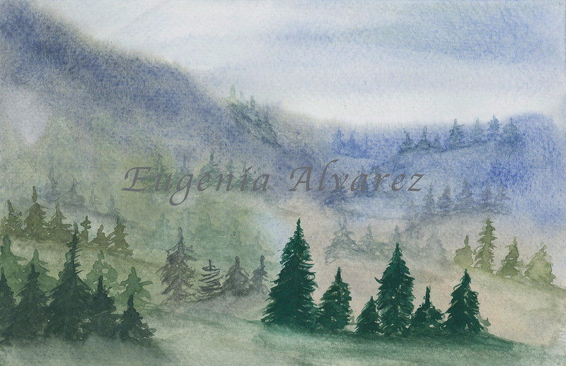 Foggy Forest - Watercolor