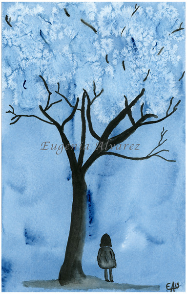 Blue Forest Watercolor Painting Art Print Fine Art Print from Watercolor Painting Abstract Landscape Painting Art Watercolor Wall Art