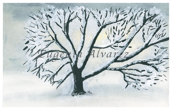 Winter Tree Original Watercolor Painting Fine Art Print from Watercolor Painting Winter Landscape Painting Art Watercolor Wall Art