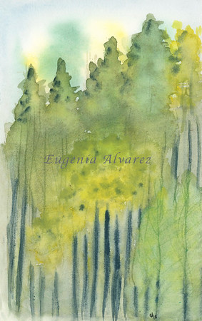 Green Forest. Original Watercolor Painting Landscape Art Print Fine Art Print from Watercolor Painting Original Landscape Watercolor Painting