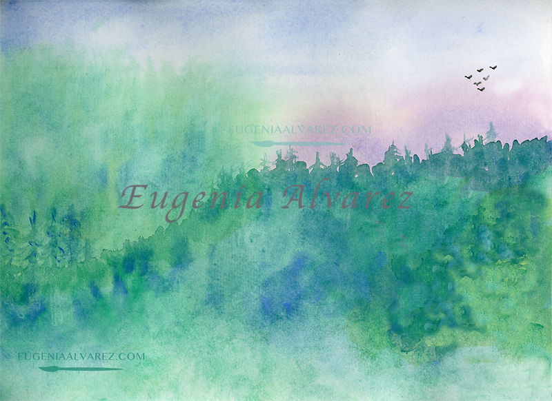Misty Watercolor Painting