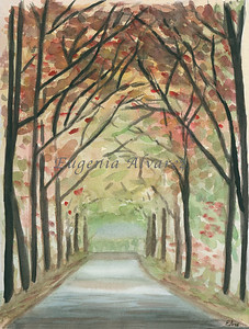 Deep Forest Road Landscape Original Watercolor Painting Art Print from Watercolor Painting Landscape Art Print Watercolor Wall Art