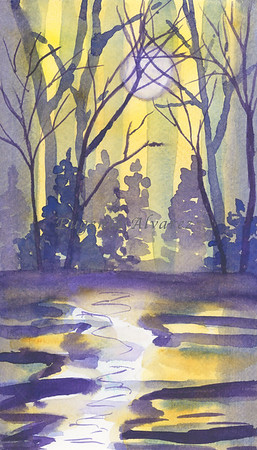 Purple landscape  Watercolor