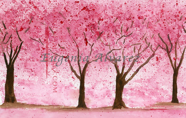 Cherry Trees. Watercolor Painting Art Print Fine Art Print from Watercolor Painting Cherry Trees Landscape Painting Art Watercolor Wall Art