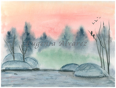 On the River Sunset Landscape Original Watercolor Painting Art Print from Watercolor Painting Landscape Art Print Watercolor Wall Art