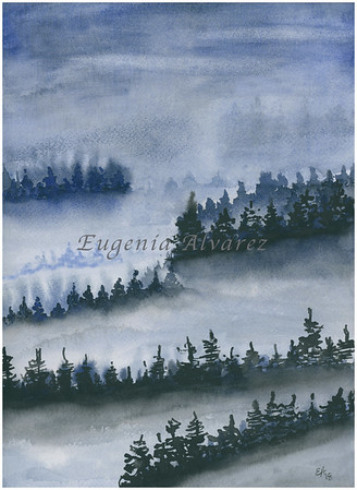 Foggy Forest. Original Watercolor Painting Landscape Art Print Fine Art Print from Watercolor Painting Original Landscape Watercolor Painting