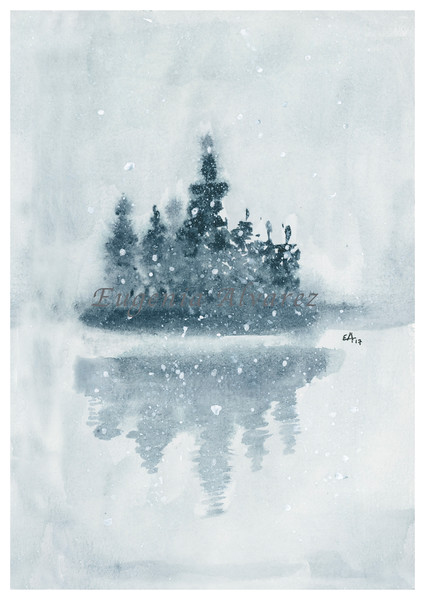 Winter Island Landscape Original Watercolor Painting Fine Art Print from Watercolor Painting Landscape Painting Art Watercolor Wall Art