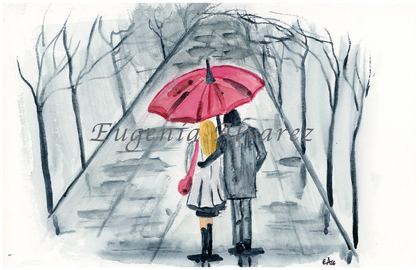 Under the Rain Watercolor Painting Art Print Fine Art Print from Watercolor Painting Painting Art Modern Wall Art