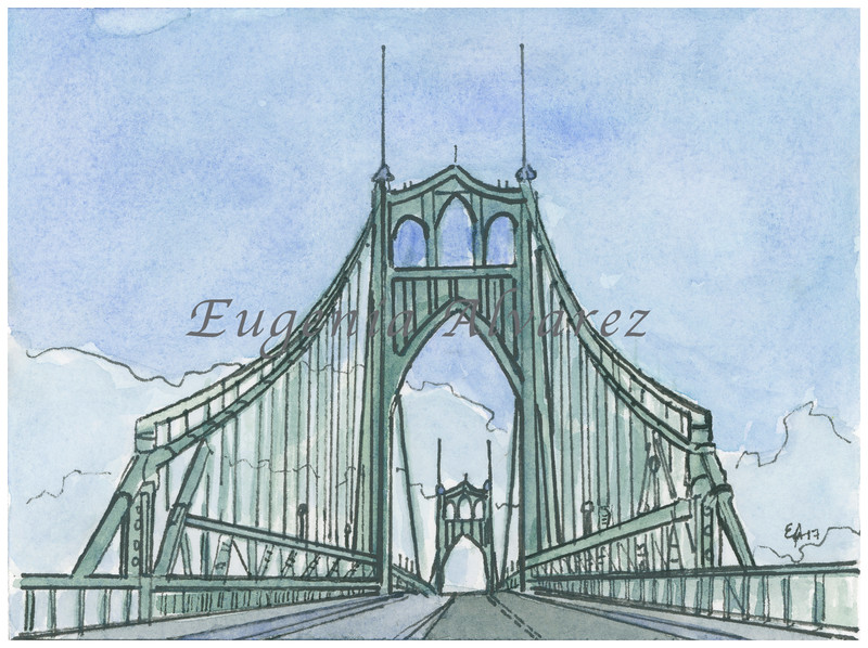 St Johns Bridge, Portland, Oregon. Painting Art Print   Fine Art Print from Watercolor Painting Architecture  Art Print Famous Landmark Watercolor