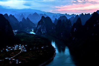 Sunrise at Xianggong hill near Guilin, China