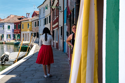 Lady in red, Burano, Italy