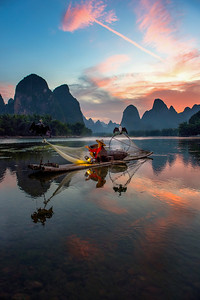 Sunset on the Li River, China