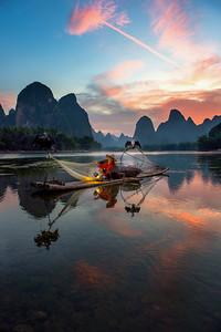 Sunset on the Li River, China