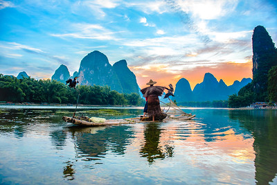 Cormorant fisherman casting, Li River, China