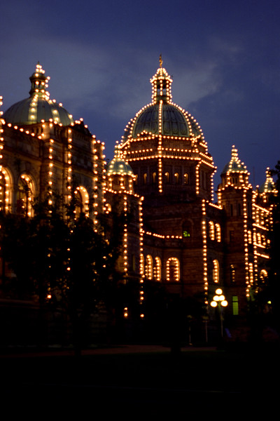 Victoria, B C  - Parliament at Night 1