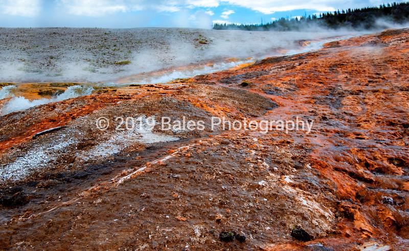 Steam vents from underground caldera, Wyoming
