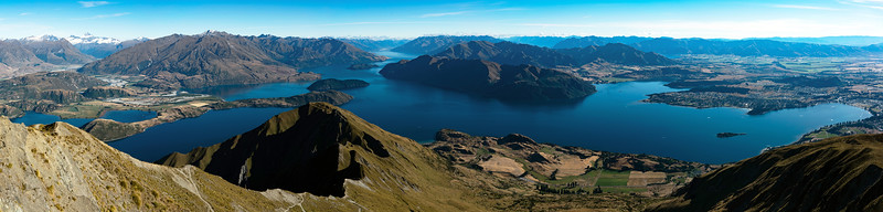 I stitched five photos together to make this panorama (once I got the feeling back in my legs). Shot from Roys Peak, around 1,200m above Lake Wanaka.Sony a7RII/35mm lens f/11 1/320s ISO-125