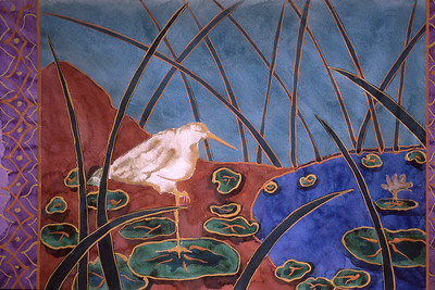 Egret by Pond