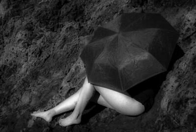 Woman with Umbrella: Flower Tatoo