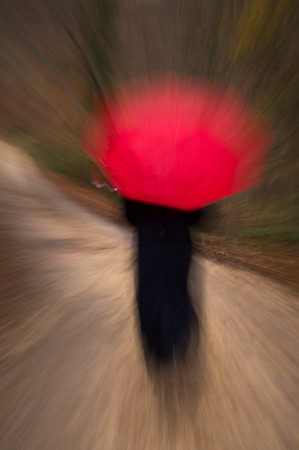 Woman with Red Umbrella: Country Road