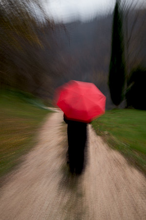 On the Road with Red Umbrella