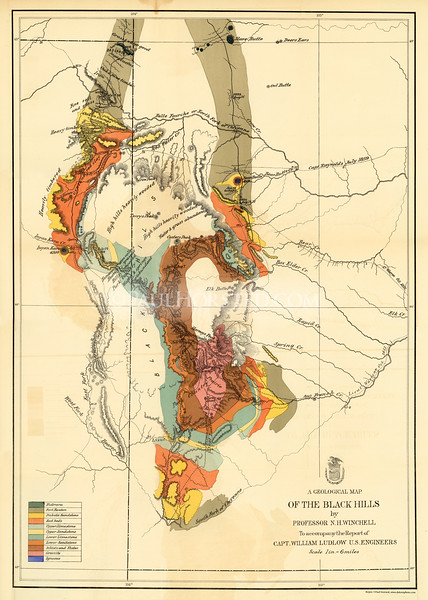 1874 Custer Expedition map (produced for 1875 report). Original size is approx. 17.5x25 inches. This one shows the geological features of the Black Hills as recorded by the Expedition geologist, Newton H. Winchell.