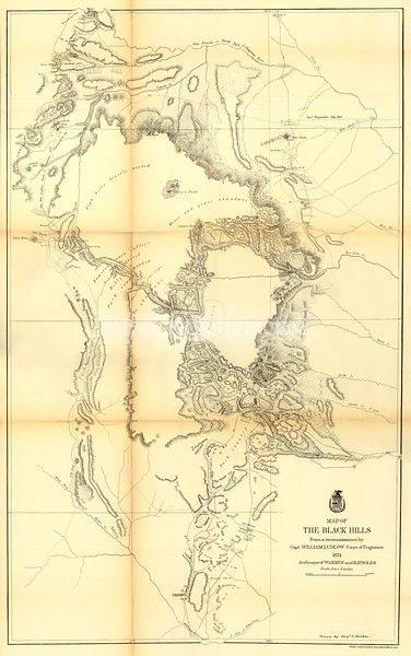 1874 Custer Expedition map (produced for 1875 report). Original size is approx. 24x38 inches. This one shows the route through the Black Hills region as well as other landmarks.