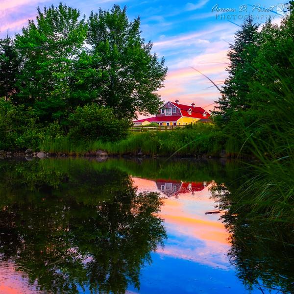 Barn reflecting in North East Creek, Bar Harbor, Maine July 24, 2014, 8:10 PM