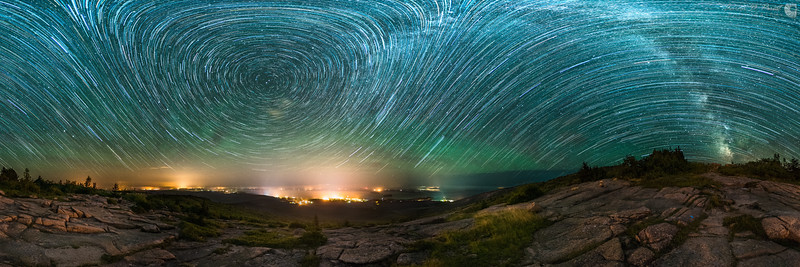 Airglow and Star Trails over Cadillac Mountain