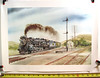 """ERIE USRA Heavy Pacific [K-5 class?]steam locomotive with passenger train in tow passing a station at a junction with semaphore signals. The sign reads """"End of Block Limit"""". Gil Reid print"""