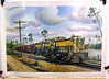 This print depicts a couple of Alco RS3 freight locomotives with a SAL train extra. .                       <br /> <br /> A series of Howard Fogg paintings and prints were commissioned by the American Locomotive Co.