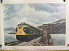 This print depicts a set of Spokane Portland & Seattle Ry freight units.<br>Printed on textured slick paper.   A series of Howard Fogg paintings and prints were commissioned by the American Locomotive Co.