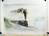 Gil Reid print of Pennsylvania Railroad K-4 class pacific-type steam locomotive with passenger train in the winter.