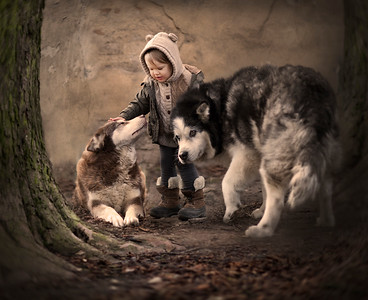 Salinka and her dogs. Poland.2016