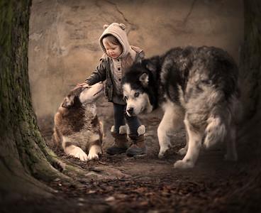 Salinka and her dogs. Poland.2016