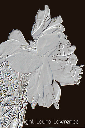 Black and White Peony in Crystal Vase, Digital Base Relief