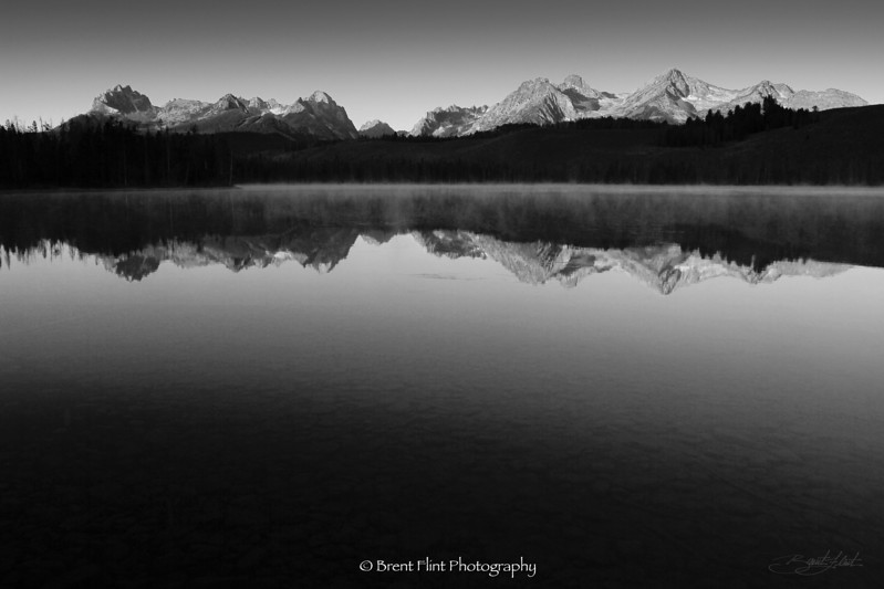 DF.3380 - Sawtooth Mountains reflected in Little Redfish Lake at dawn, Sawtooth National Recreation Area, ID.