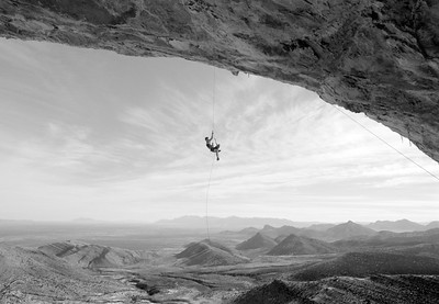 CP Little ascending to the lip of the Celebrity Cave, Dry Canyon, Whetstone Mountains, Arizona