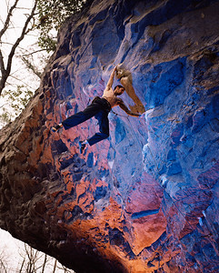 Chris Sierzant climbing at The Concave, Little River Canyon, Alabama